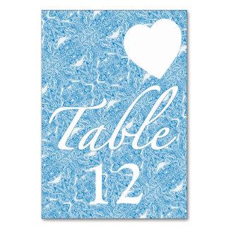 Aqua Blue Damask Style Wedding Table Card