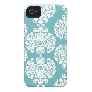 Aqua blue damask stylish pattern blackberry bold iPhone 4 covers