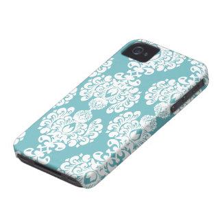 Aqua blue damask stylish pattern iphone 4 casemate iPhone 4 case