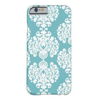 Aqua blue damask stylish pattern iPhone 6 case Barely There iPhone 6 Case