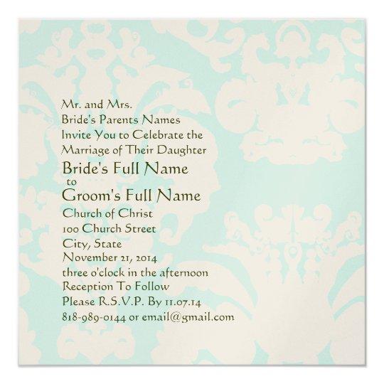 Aqua Blue Damask Wedding Invitation