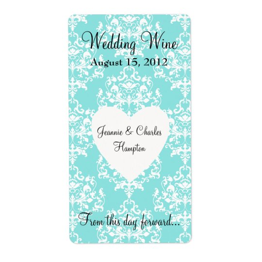 Aqua Blue Damask Wedding Mini Wine Label