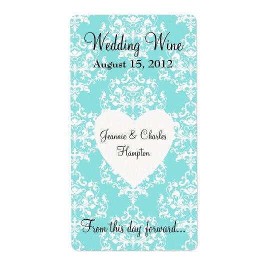 Aqua Blue Damask Wedding Mini Wine Label Shipping Label