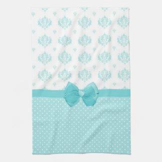 Aqua Blue Damask With Turquoise Ribbon Tea Towel