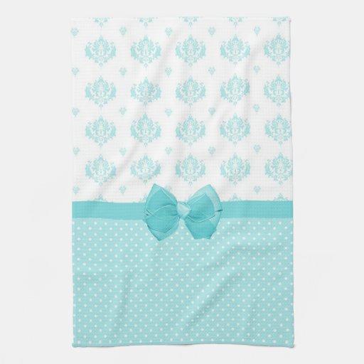Turquoise Kitchen Towels: Aqua Blue Damask With Turquoise Ribbon Kitchen Towel