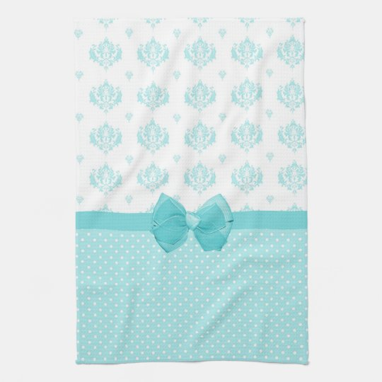 Aqua Blue Damask With Turquoise Ribbon Tea Towel