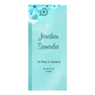 Aqua Blue Dark Teal Floral Wedding Programmes