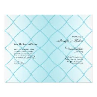 Aqua Blue Diamond Pattern Wedding Program 21.5 Cm X 28 Cm Flyer