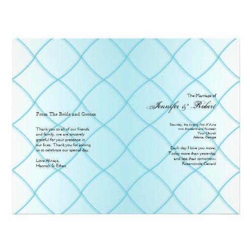 Aqua Blue Diamond Pattern Wedding Program Personalized Flyer