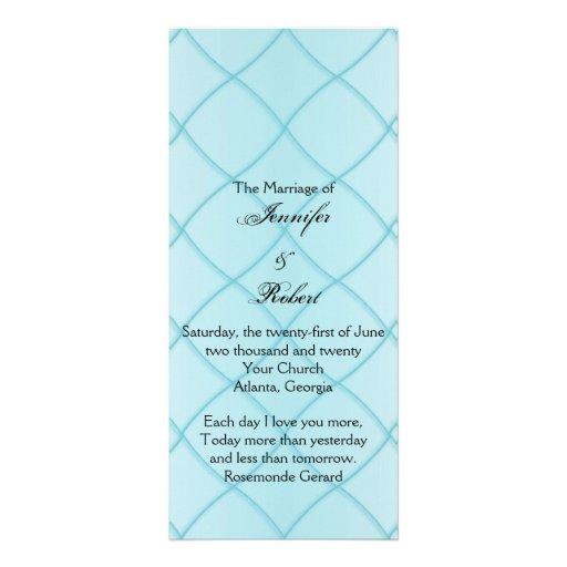 Aqua Blue Diamond Pattern Wedding Program Customized Rack Card