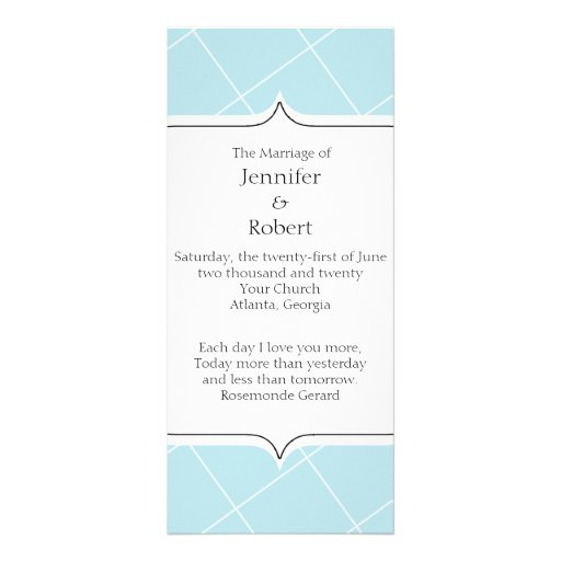 Aqua Blue Diamond Scallop Wedding Program Rack Cards