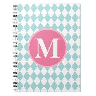 Aqua Blue Diamonds Pattern Pink Monogram Note Books