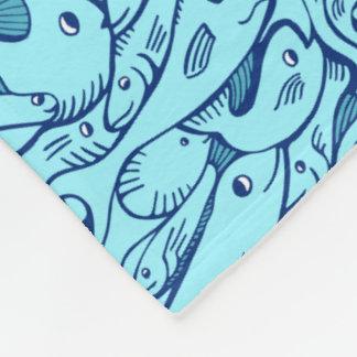 Aqua Blue Fish Pattern Fleece Blanket
