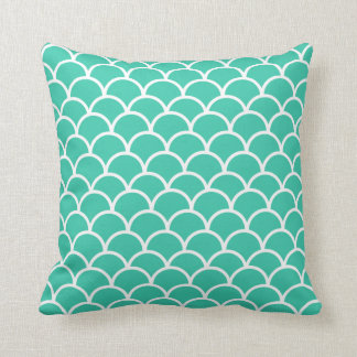 Aqua Blue Fish scale pattern Cushion