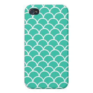Aqua Blue Fish scale pattern iPhone 4 Cover