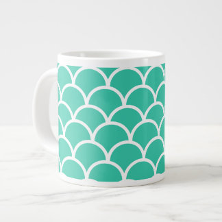 Aqua Blue Fish scale pattern Large Coffee Mug
