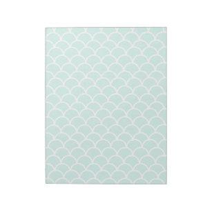 Aqua Blue Fish scale pattern Notepad