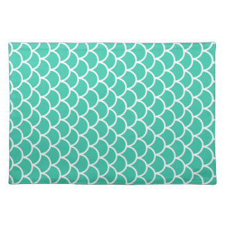 Aqua Blue Fish scale pattern Placemat