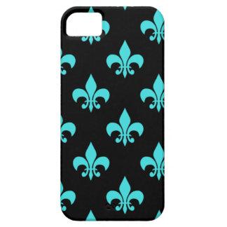 aqua blue fleur de lis pattern case for the iPhone 5