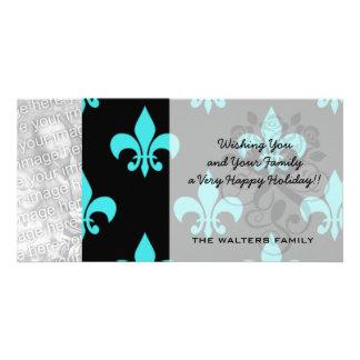 aqua blue fleur de lis pattern picture card