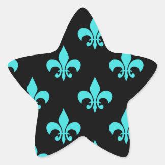 aqua blue fleur de lis pattern sticker