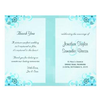 Aqua Blue Floral BiFold Wedding Program Templates 21.5 Cm X 28 Cm Flyer