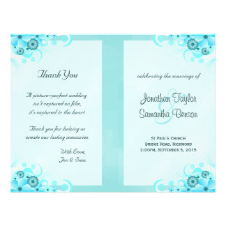 Aqua Blue Floral BiFold Wedding Program Templates Flyer