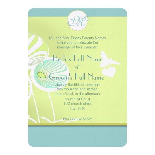 Aqua Blue Floral Bumble Bee Wedding Invitation
