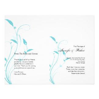 Aqua Blue Floral Filigree Wedding Program Flyer