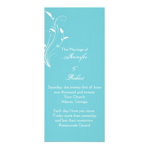 Aqua Blue Floral Filigree Wedding Program Custom Rack Cards