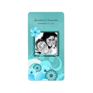 Aqua Blue Floral Hibiscus Wedding Photo Favor Wine Address Label