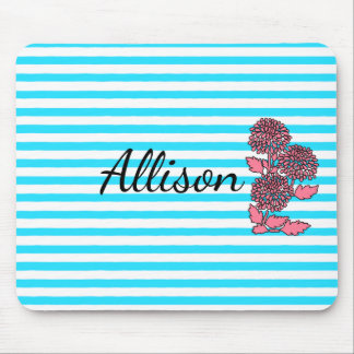 Aqua Blue Floral Striped Mousepad