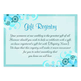 Aqua Blue Floral Wedding Gift Registry Mini Cards Pack Of Chubby Business Cards