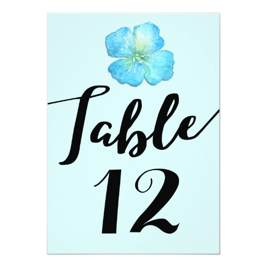 Aqua Blue Floral Wedding Table Number Card