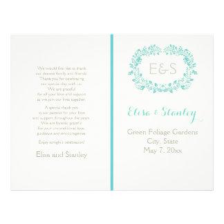 Aqua blue foliage frame folded wedding program 21.5 cm x 28 cm flyer