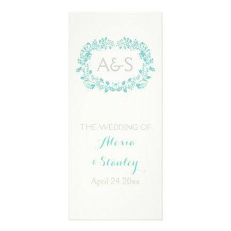 Aqua blue foliage frame wedding program personalised rack card