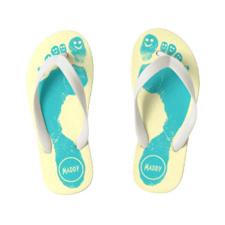 Aqua Blue Footprints Smiley-Toes™ Happy Sun Yellow Flip Flops