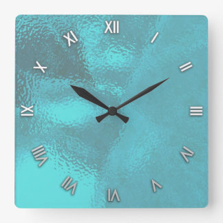 Aqua Blue Glass Look Wall Clock