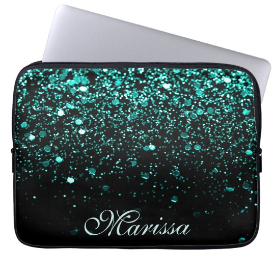 Aqua Blue Glitter Girly Trendy Modern Black Laptop