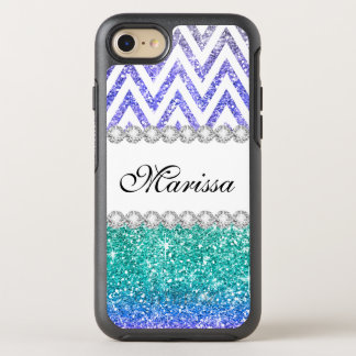 Aqua Blue Glitter Purple Ombre White Chevrons OtterBox Symmetry iPhone 8/7 Case