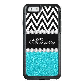 Aqua Blue Glitter Sparkles Black White Chevron OtterBox iPhone 6/6s Case