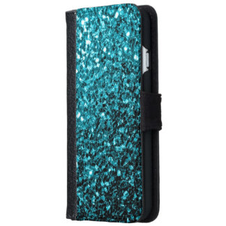 Aqua blue glitter sparkles iPhone wallet case iPhone 6 Wallet Case