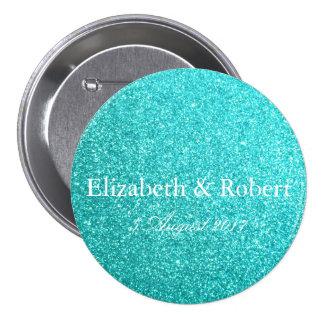 Aqua Blue Glitter with White Details 7.5 Cm Round Badge