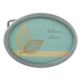 AQUA BLUE GOLD LEAF MOTIVE 2 BELT BUCKLES
