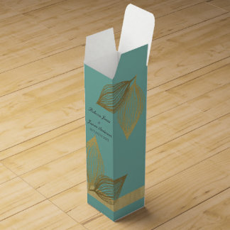 AQUA BLUE GOLD LEAF MOTIVE 2 WINE GIFT BOX