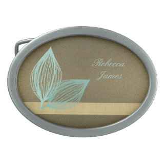 AQUA BLUE GOLD LEAF MOTIVE BELT BUCKLES