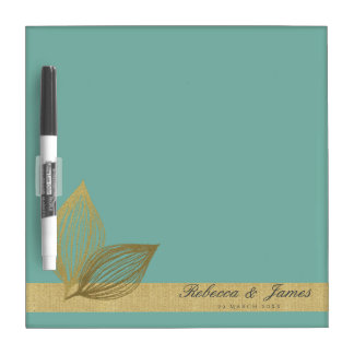 AQUA BLUE GOLD LEAF MOTIVE MONOGRAM DRY ERASE WHITEBOARD
