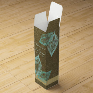 AQUA BLUE GOLD LEAF MOTIVE WINE BOX