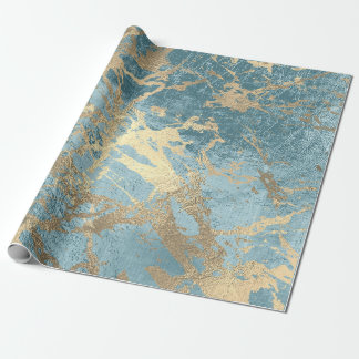 Aqua Blue Gold Marble Shiny Metallic Grungy VIP Wrapping Paper