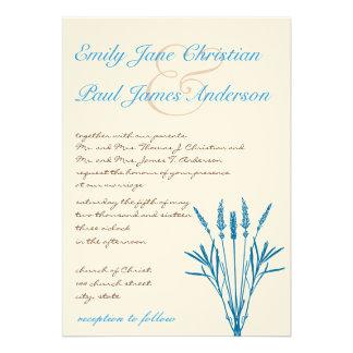 Aqua Blue Grasses and Font Wedding Announcements